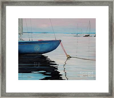 Sailboat Tied Framed Print by Marilyn  McNish