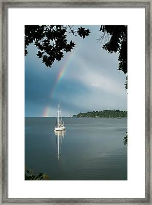 Sailboat Under The Rainbow Framed Print by Mary Lee Dereske
