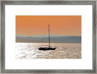 Sailboat With Bike Framed Print