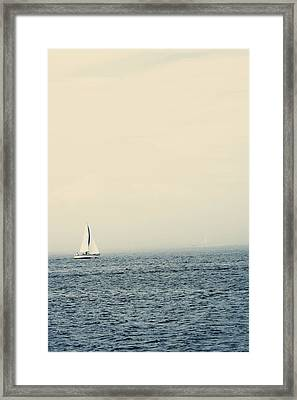 Sailboat With Fog On Water Framed Print by Gillham Studios