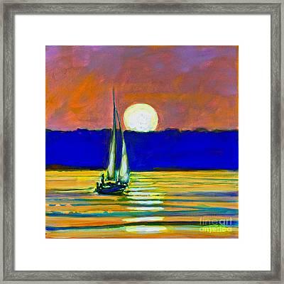 Sailboat With Moonlight Framed Print by Kip Decker