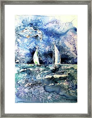 Sailboat With Seaguls Framed Print