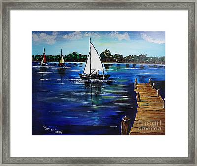 Sailboats And Pier Framed Print