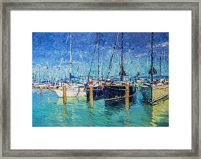Sailboats At Balatonfured Framed Print