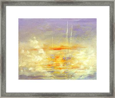 Sailboats At Dawn Framed Print by Hanne Lore Koehler
