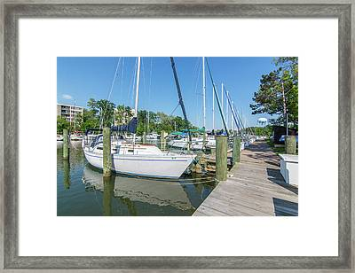 Framed Print featuring the photograph Sailboats At Dock by Charles Kraus
