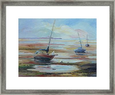 Sailboats At Low Tide Near Nelson, New Zealand Framed Print by Barbara Pommerenke
