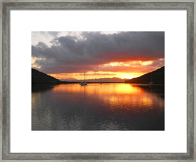 Sailboats At Sunrise In Puerto Escondido Framed Print by Anne Mott