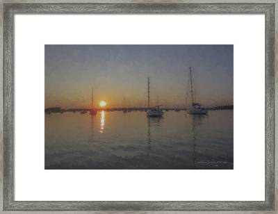 Sailboats At Sunset Framed Print