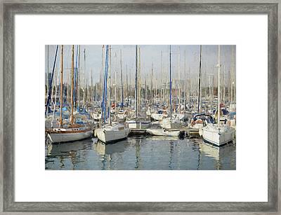Sailboats At The Dock - Painting Framed Print