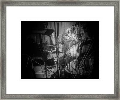 Sailboats Berthed In The Fog Framed Print