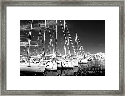 Sailboats Docked Framed Print by John Rizzuto