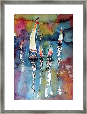 Framed Print featuring the painting Sailboats II by Kovacs Anna Brigitta