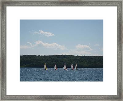 Sailboats In Eagle Harbor Framed Print