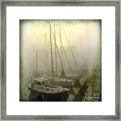 Sailboats In Honfleur. Normandy. France Framed Print