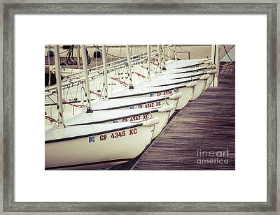 Sailboats In Newport Beach Retro Picture Framed Print by Paul Velgos