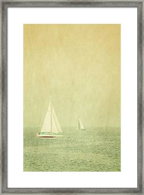Sailboats In Pastel Framed Print by Erin Cadigan
