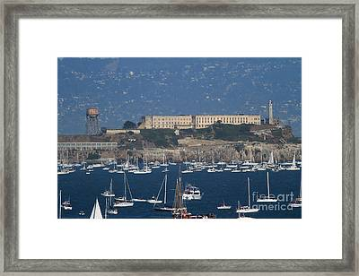 Sailboats In The San Francisco Bay Overlooking Alcatraz . 7d8080 Framed Print by Wingsdomain Art and Photography