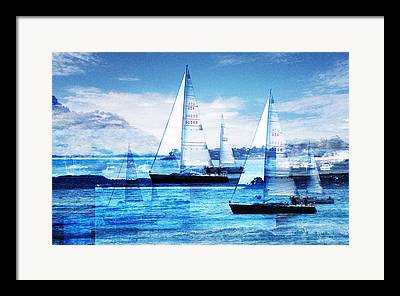 Sailboat Ocean Digital Art Framed Prints