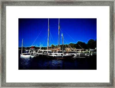 Sailboats Mystic Seaport Framed Print by Lawrence Christopher