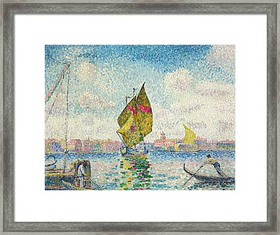 Sailboats On Giudecca Or Venice, Marine Framed Print by Henri-Edmond Cross