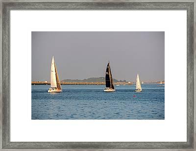 Sailboats On The Boston Harbor Boston Harbor Islands Framed Print