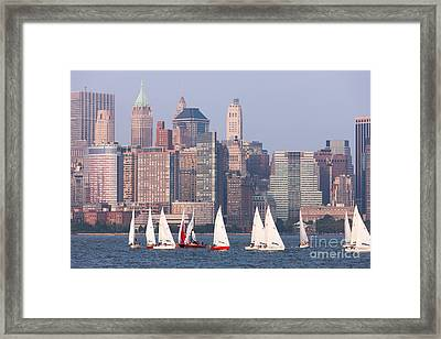 Sailboats On The Hudson II Framed Print by Clarence Holmes