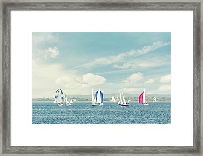 Sailboats On The Raritan Bay Framed Print by Erin Cadigan