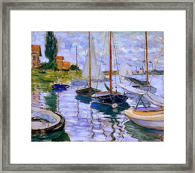 Sailboats On The Seine At Petit Gennevilliers Claude Monet 1874 Framed Print