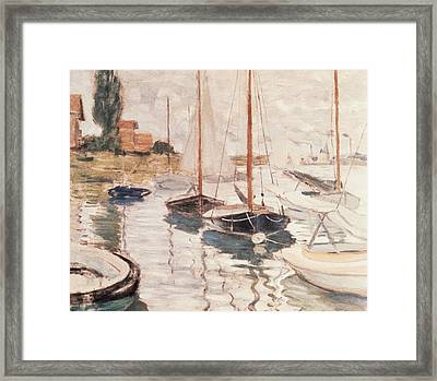 Sailboats On The Seine Framed Print by Claude Monet