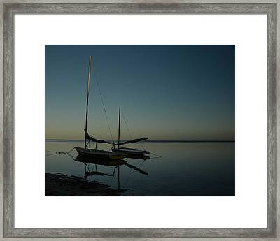 Sailboats, Shadows And Sunset Framed Print by Maria Suhr