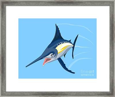 Sailfish Diving Framed Print by Aloysius Patrimonio