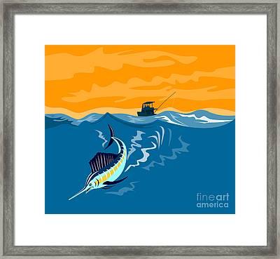 Sailfish Fishing Boat Framed Print by Aloysius Patrimonio