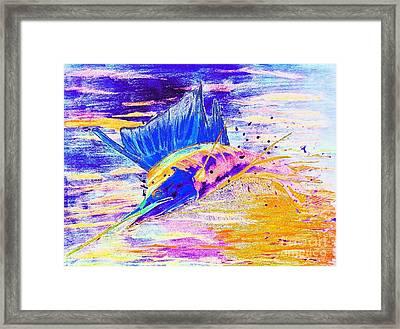 Sailfish Saltwater Fishing Abstract Framed Print