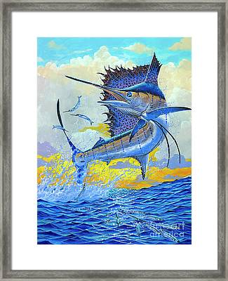 Sailfish Sunset Framed Print by Carey Chen