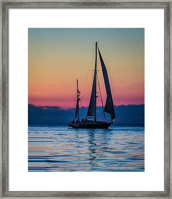 Sailing After Sunset Framed Print