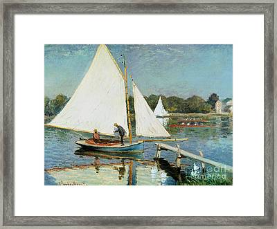 Sailing At Argenteuil Framed Print by Claude Monet