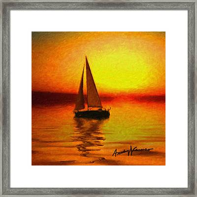 Sailing At Sunset Framed Print by Anthony Caruso