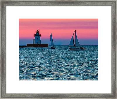 Sailing At The Cleveland Lighthouse  Framed Print