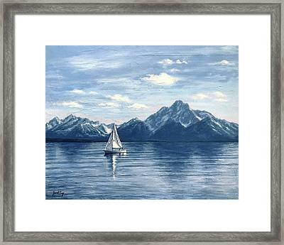 Sailing At The Grand Tetons Framed Print