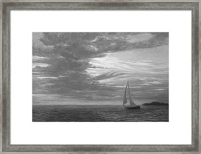 Sailing Away - Black And White Framed Print