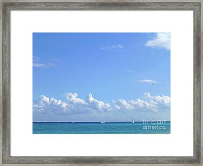 Framed Print featuring the photograph Sailing Blue Seas by Francesca Mackenney