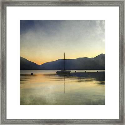 Sailing Boat In The Sunset Framed Print by Joana Kruse