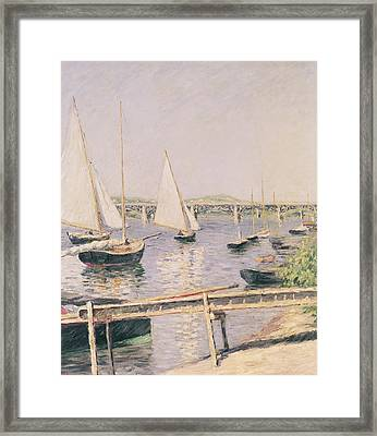 Sailing Boats At Argenteuil Framed Print by Gustave Caillebotte