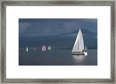 Sailing Boats By Stormy Weather, Geneva Lake, Switzerland Framed Print