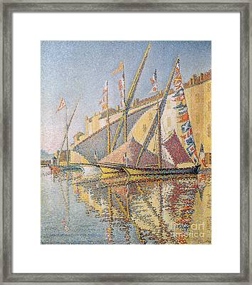 Sailing Boats In St Tropez Harbour, 1893  Framed Print