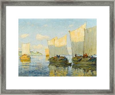 Sailing Boats On The Volga Framed Print by Konstantin