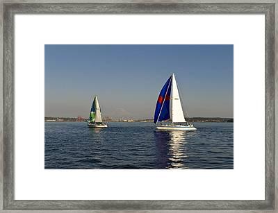 Sailing By Mt Rainier Framed Print by Tom Dowd