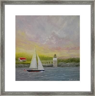 Sailing By Ram Island Framed Print