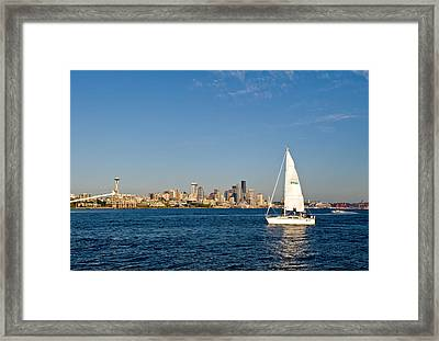 Sailing By Seattle Framed Print by Tom Dowd